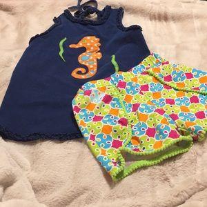 Kelly's kids  Rare Edition. Sea horse top ,shorts